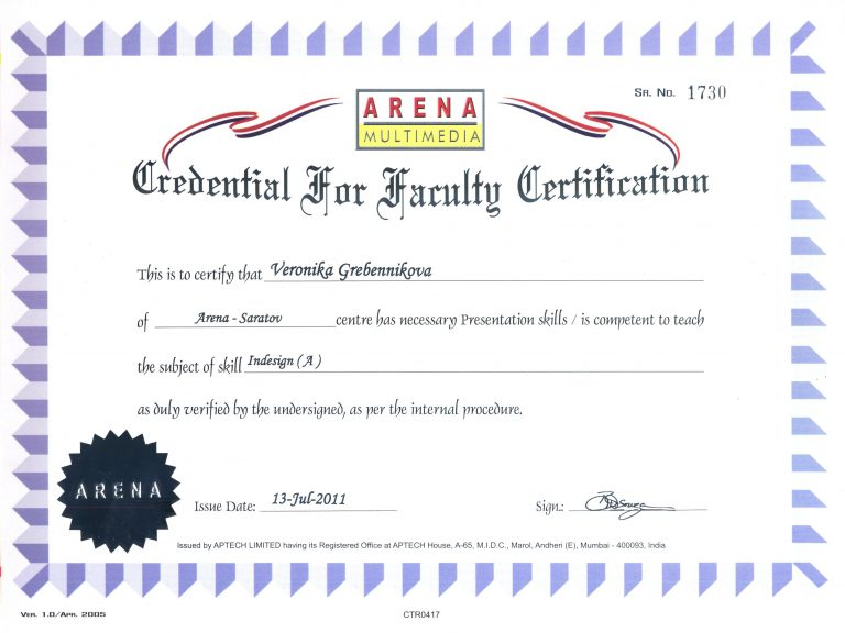 Credential for Faculty Certification